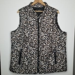 Relativity Animal Print Quilted Vest Size 3X
